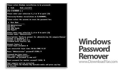 دانلود Windows Password Remover v7.0 - نرم افزار حذف تمامی پسوردهای ویندوز مایكروسافت