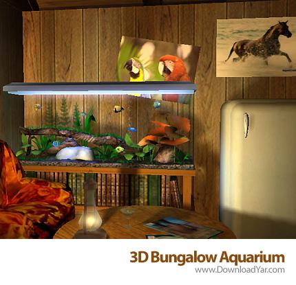 دانلود 3D Bungalow Aquarium v1.1 - اسکرین سیور سه بعدی آکواریوم خانه ییلاقی