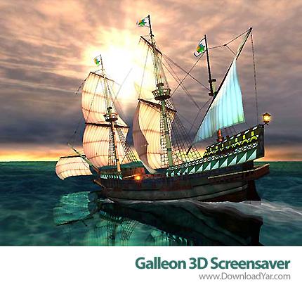 دانلود Galleon 3D Screensaver v1.3 - محافظ صفحه نمایش سه بعدی کشتی بادبانی