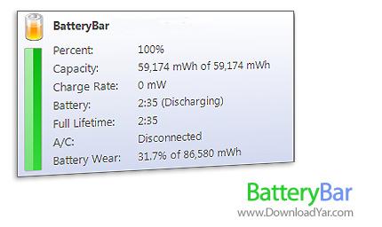 دانلود BatteryBar v3.4.0.468 - نرم افزار مدیریت باطری لپ تاپ