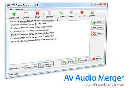 دانلود Avmediasoft AV Audio Merger v4.3.1 - نرم افزار چسباندن فایل های صوتی به هم
