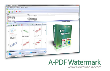 دانلود A-PDF Watermark v3.8.0 - نرم افزار قرار دادن Watermark برای اسناد PDF